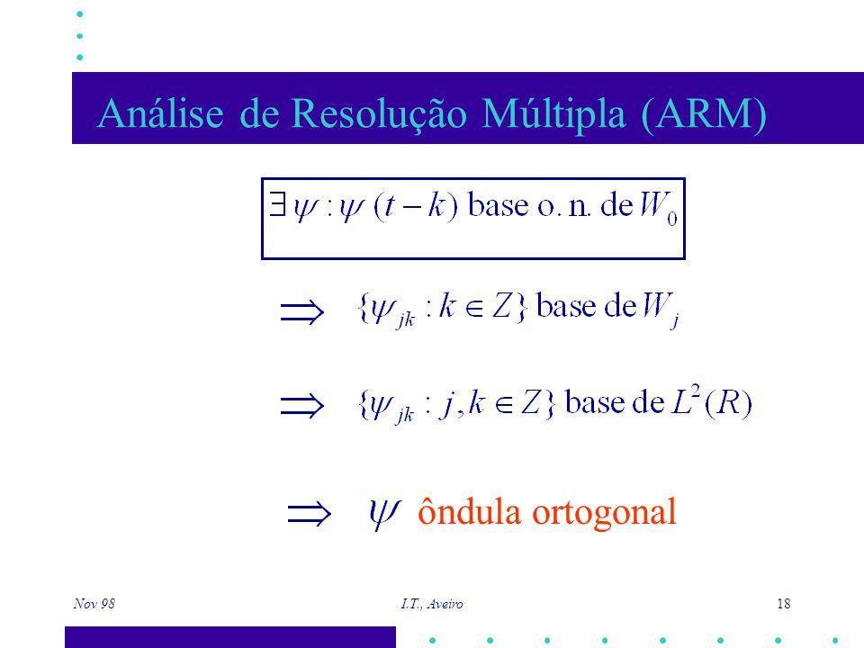 Nov 98 I.T., Aveiro 18 Análise de Resolução Múltipla (ARM) ôndula ortogonal