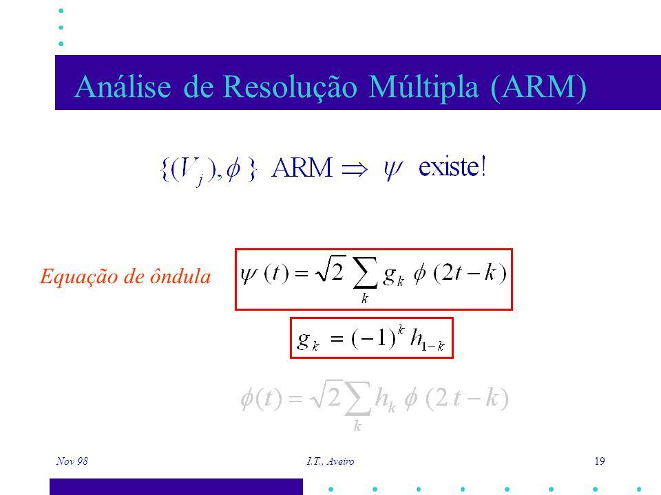 Nov 98 I.T., Aveiro 19 Análise de Resolução Múltipla (ARM) Equação de ôndula