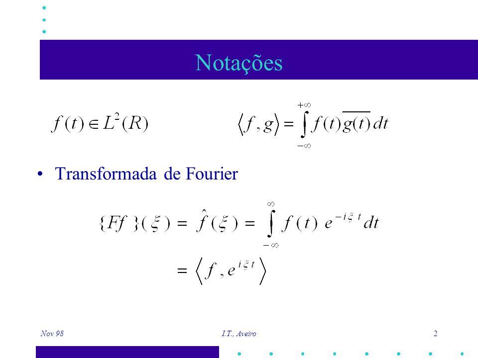 Nov 98 I.T., Aveiro 3 Localização tempo-frequência Transformada de Fourier com janela g