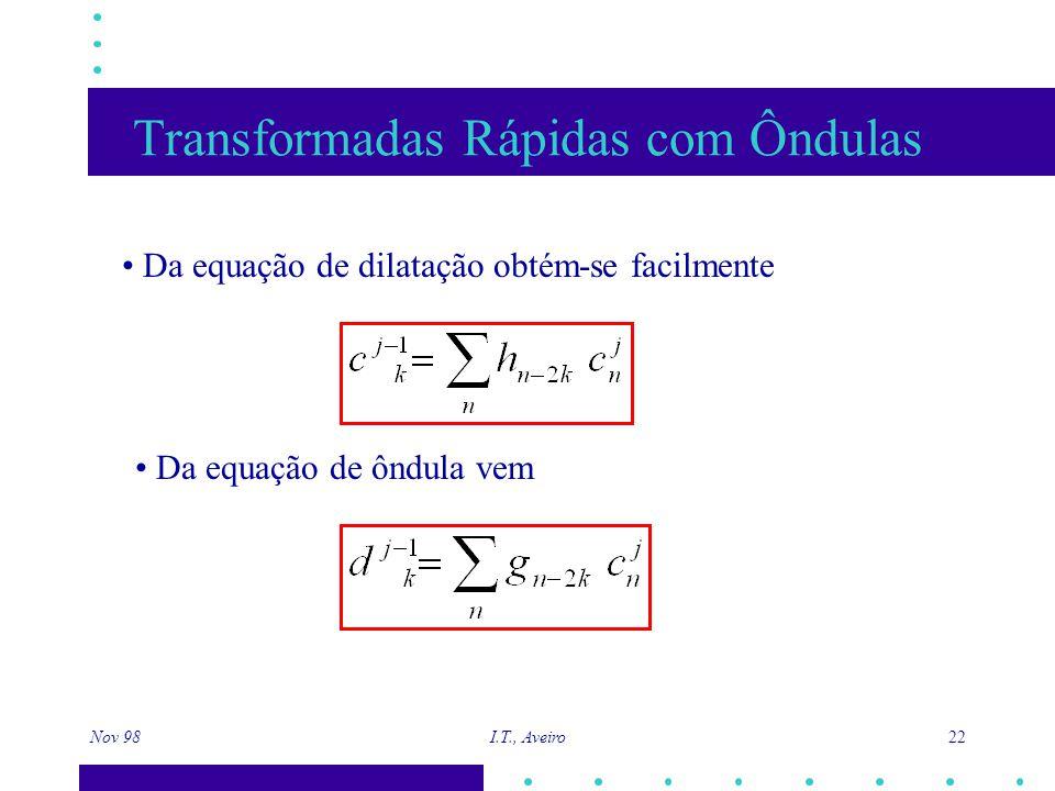 Nov 98 I.T., Aveiro 22 Transformadas Rápidas com Ôndulas Da equação de dilatação obtém-se facilmente Da equação de ôndula vem