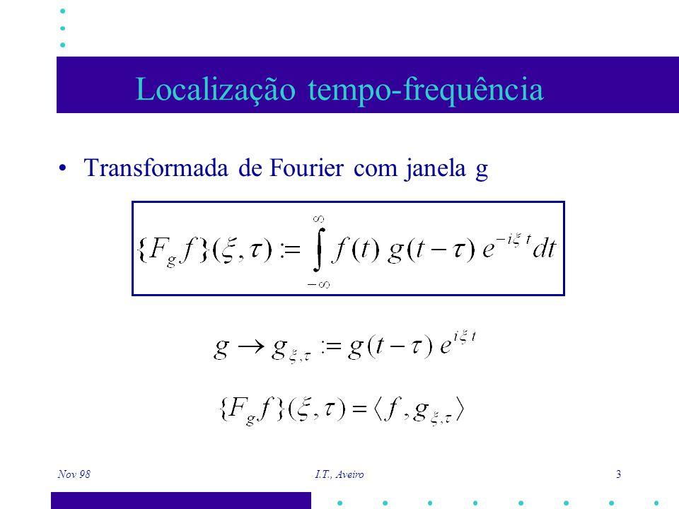 Nov 98 I.T., Aveiro 24 Pode ser invertida facilmente Output Input Transformadas Rápidas com Ôndulas