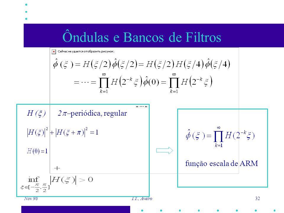 Nov 98 I.T., Aveiro 32 Ôndulas e Bancos de Filtros H (  ) 2  periódica, regular função escala de ARM