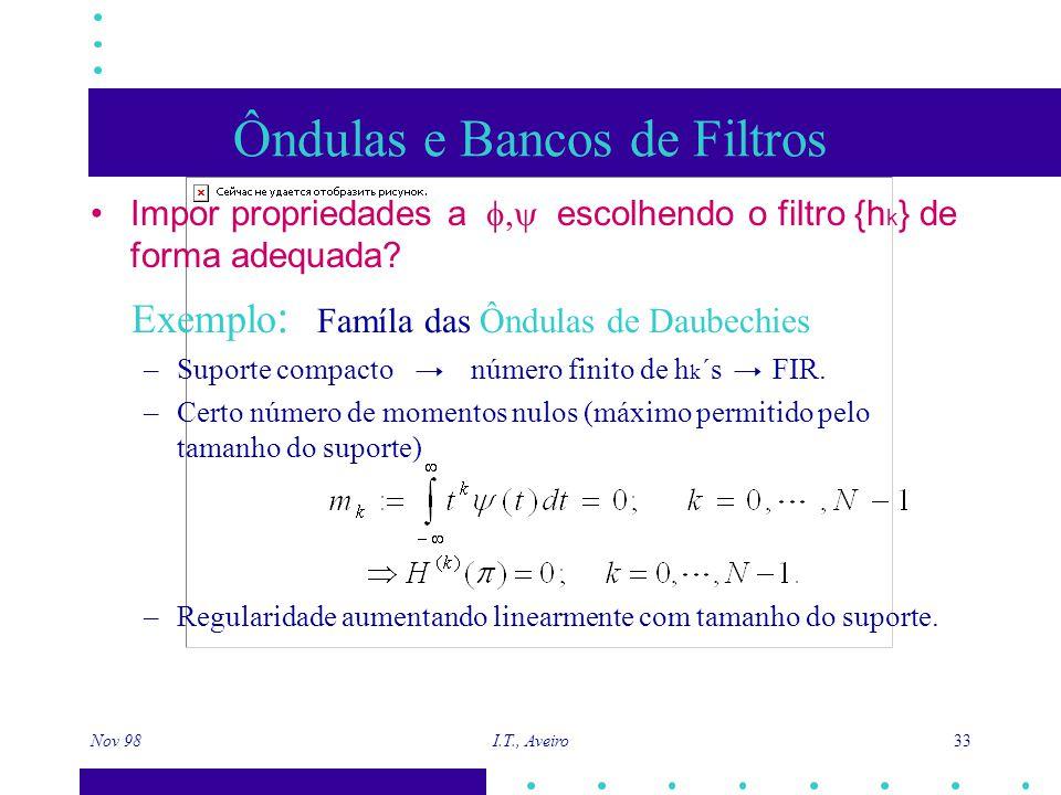 Nov 98 I.T., Aveiro 33 Ôndulas e Bancos de Filtros Impor propriedades a  escolhendo o filtro {h k } de forma adequada? Exemplo : Famíla das Ôndulas