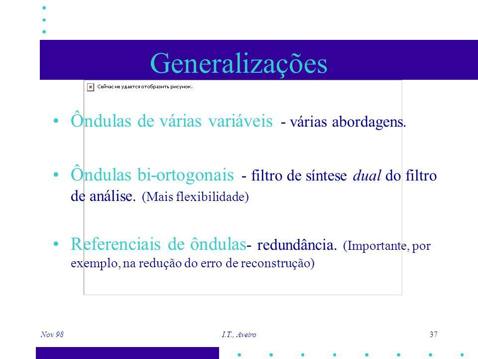 Nov 98 I.T., Aveiro 37 Generalizações Ôndulas de várias variáveis - várias abordagens. Ôndulas bi-ortogonais - filtro de síntese dual do filtro de aná