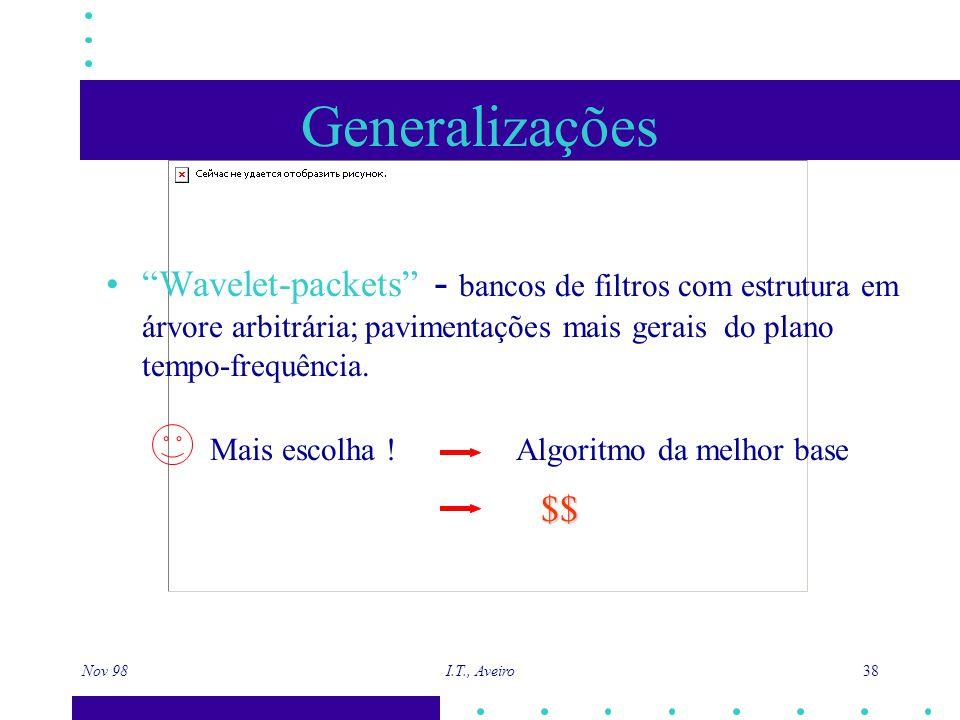 Nov 98 I.T., Aveiro 38 Generalizações Wavelet-packets - bancos de filtros com estrutura em árvore arbitrária; pavimentações mais gerais do plano tempo-frequência.