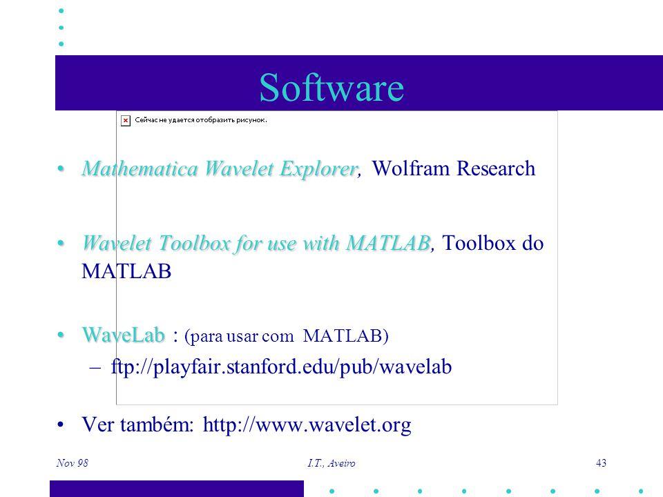 Nov 98 I.T., Aveiro 43 Software Mathematica Wavelet ExplorerMathematica Wavelet Explorer, Wolfram Research Wavelet Toolbox for use with MATLABWavelet