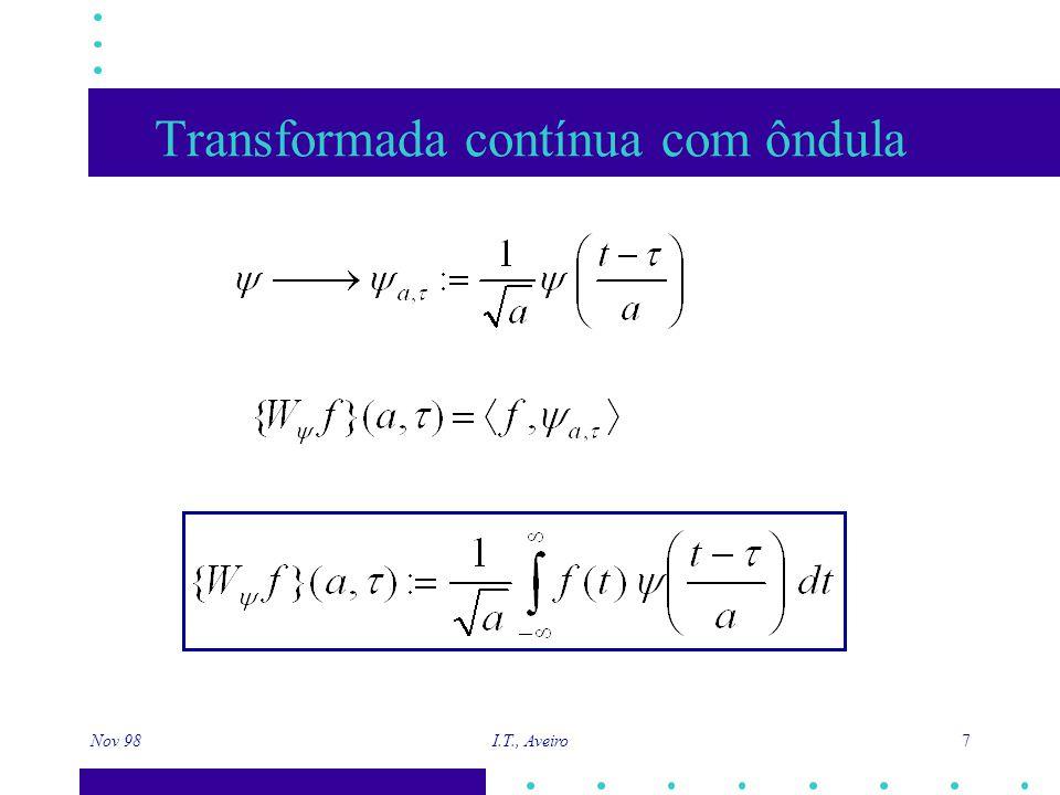 Nov 98 I.T., Aveiro 8 Transformada contínua com ôndula Quando a aumenta, a função alarga Quando a diminui, a função estreita