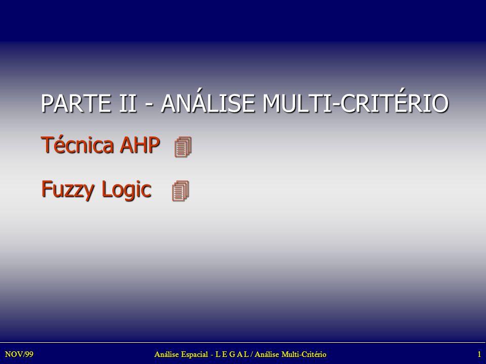 Análise Espacial - L E G A L / Análise Multi-Critério1NOV/99 PARTE II - ANÁLISE MULTI-CRITÉRIO Técnica AHP  Fuzzy Logic 