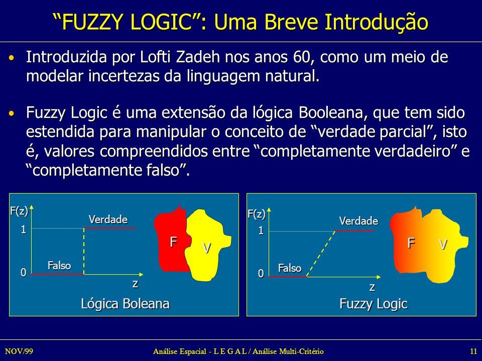 Análise Espacial - L E G A L / Análise Multi-Critério11NOV/99 Introduzida por Lofti Zadeh nos anos 60, como um meio de modelar incertezas da linguagem natural.