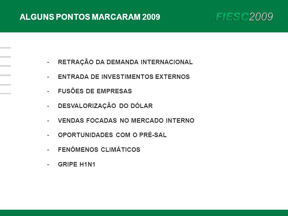 -RETRAÇÃO DA DEMANDA INTERNACIONAL -ENTRADA DE INVESTIMENTOS EXTERNOS -FUSÕES DE EMPRESAS -DESVALORIZAÇÃO DO DÓLAR -VENDAS FOCADAS NO MERCADO INTERNO -OPORTUNIDADES COM O PRÉ-SAL -FENÔMENOS CLIMÁTICOS -GRIPE H1N1 ALGUNS PONTOS MARCARAM 2009