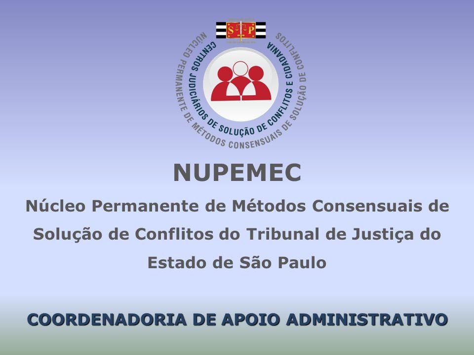 NUPEMEC Núcleo Permanente de Métodos Consensuais de Solução de Conflitos do Tribunal de Justiça do Estado de São Paulo COORDENADORIA DE APOIO ADMINISTRATIVO