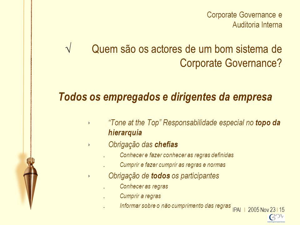 IPAI I 2005 Nov 23 I 15 Corporate Governance e Auditoria Interna √ Quem são os actores de um bom sistema de Corporate Governance? Todos os empregados
