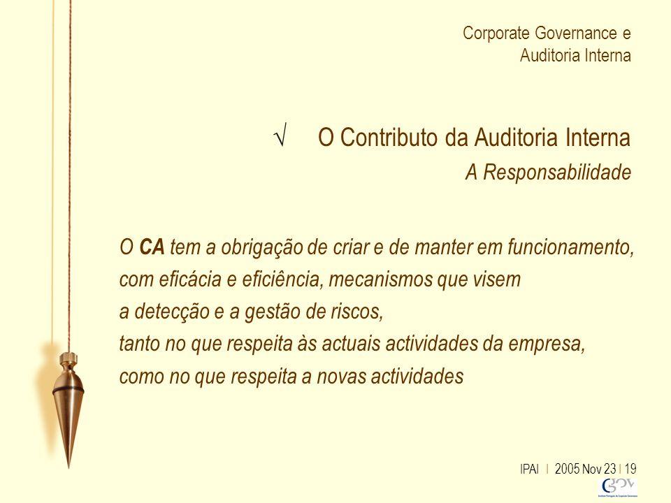 IPAI I 2005 Nov 23 I 19 Corporate Governance e Auditoria Interna √ O Contributo da Auditoria Interna A Responsabilidade O CA tem a obrigação de criar