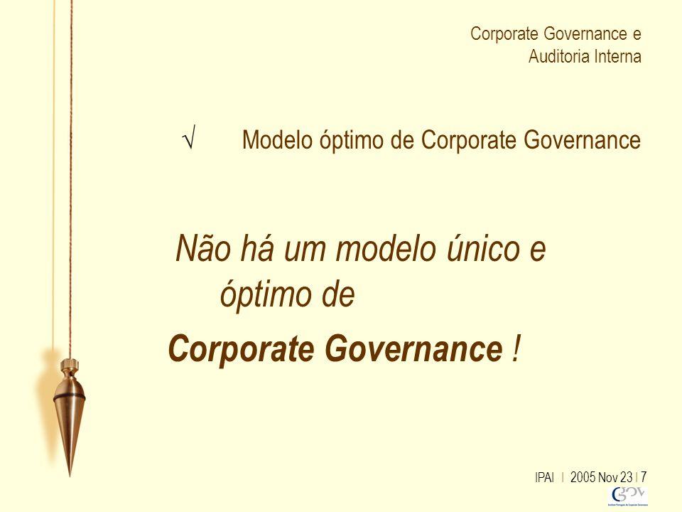 IPAI I 2005 Nov 23 I 7 Corporate Governance e Auditoria Interna √ Modelo óptimo de Corporate Governance Não há um modelo único e óptimo de Corporate G