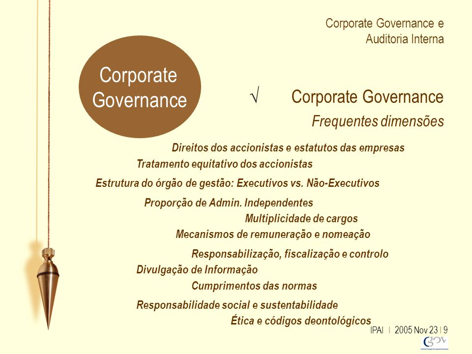 IPAI I 2005 Nov 23 I 9 Corporate Governance e Auditoria Interna √ Corporate Governance Frequentes dimensões Ética e códigos deontológicos Multiplicida