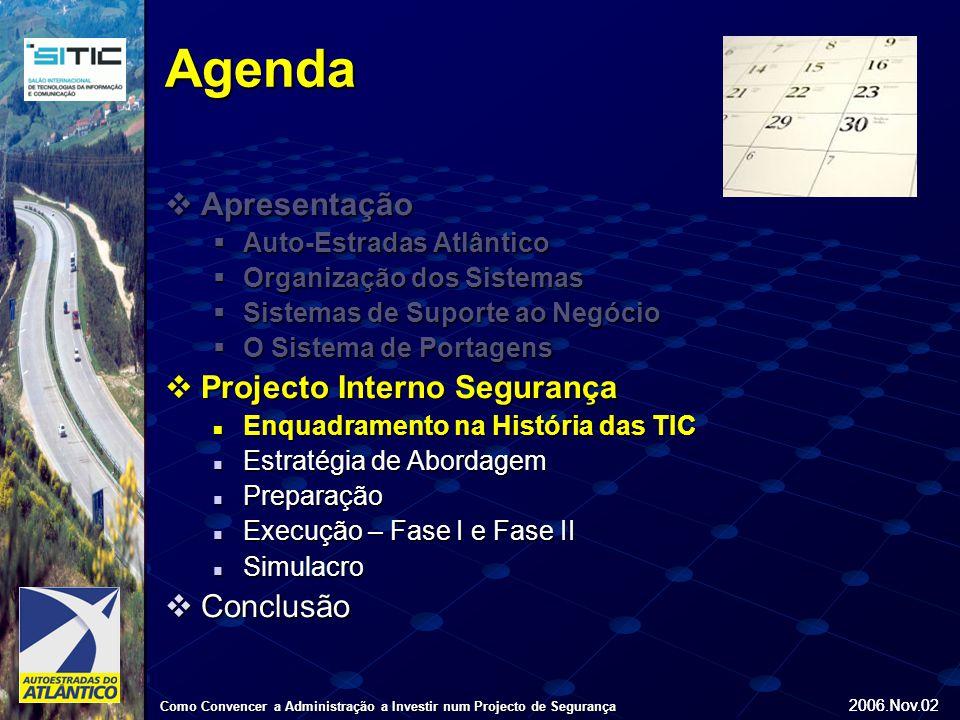 2006.Nov.02 Como Convencer a Administração a Investir num Projecto de Segurança 2006.Nov.02 Agenda  Apresentação  Auto-Estradas Atlântico  Organização dos Sistemas  Sistemas de Suporte ao Negócio  O Sistema de Portagens  Projecto Interno Segurança Enquadramento na História das TIC Enquadramento na História das TIC Estratégia de Abordagem Estratégia de Abordagem Preparação Preparação Execução – Fase I e Fase II Execução – Fase I e Fase II Simulacro Simulacro  Conclusão