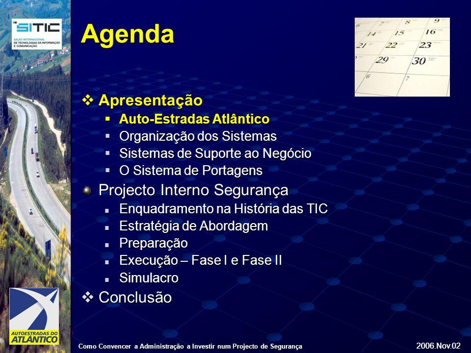 2006.Nov.02 Como Convencer a Administração a Investir num Projecto de Segurança 2006.Nov.02 Apresentação Apresentação Auto-Estradas do Atlântico  Constituída em Dezembro de 1998  Objecto do Contrato de Concessão com: Exploração e manutenção dos 85Km da A8 Sul Exploração e manutenção dos 85Km da A8 Sul Concepção, construção e financiamento de novos troços, numa extensão total de 85Km, divididos entre a A8 Norte (Caldas da Rainha – Leiria) e a A15 (Caldas da Rainha – Santarém) Concepção, construção e financiamento de novos troços, numa extensão total de 85Km, divididos entre a A8 Norte (Caldas da Rainha – Leiria) e a A15 (Caldas da Rainha – Santarém)  30 Anos de duração  170 km de Concessão  21 Portagens  875 M€ investimento em Project Finance  Sedeada em Torres Vedras  Centro de Controlo de Tráfego em Torres Vedras Auto-Estradas do Atlântico