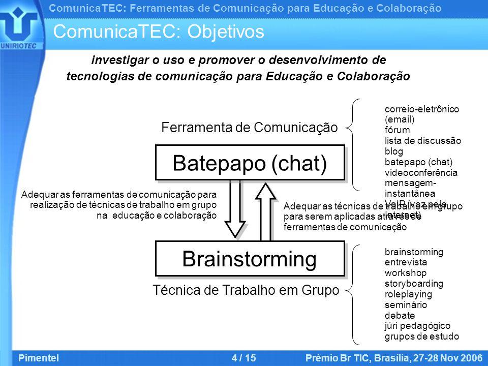 ComunicaTEC: Ferramentas de Comunicação para Educação e Colaboração Pimentel4 / 15 Prêmio Br TIC, Brasília, 27-28 Nov 2006 ComunicaTEC: Objetivos Ferramenta de Comunicação Batepapo (chat) Brainstorming Técnica de Trabalho em Grupo.