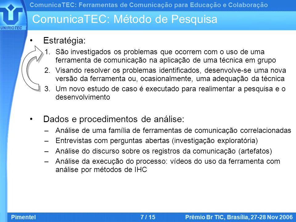 ComunicaTEC: Ferramentas de Comunicação para Educação e Colaboração Pimentel7 / 15 Prêmio Br TIC, Brasília, 27-28 Nov 2006 ComunicaTEC: Método de Pesquisa Estratégia: 1.São investigados os problemas que ocorrem com o uso de uma ferramenta de comunicação na aplicação de uma técnica em grupo 2.Visando resolver os problemas identificados, desenvolve-se uma nova versão da ferramenta ou, ocasionalmente, uma adequação da técnica 3.Um novo estudo de caso é executado para realimentar a pesquisa e o desenvolvimento Dados e procedimentos de análise: –Análise de uma família de ferramentas de comunicação correlacionadas –Entrevistas com perguntas abertas (investigação exploratória) –Análise do discurso sobre os registros da comunicação (artefatos) –Análise da execução do processo: vídeos do uso da ferramenta com análise por métodos de IHC