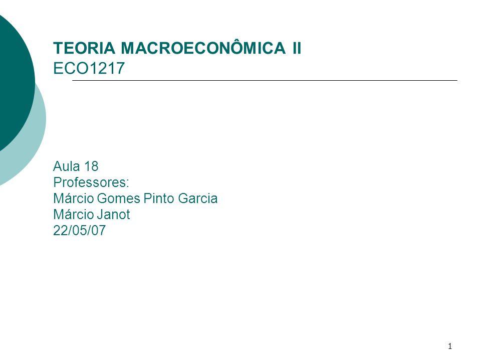 1 TEORIA MACROECONÔMICA II ECO1217 Aula 18 Professores: Márcio Gomes Pinto Garcia Márcio Janot 22/05/07