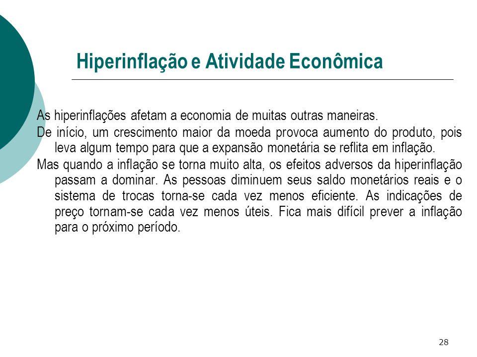 28 Hiperinflação e Atividade Econômica As hiperinflações afetam a economia de muitas outras maneiras. De início, um crescimento maior da moeda provoca