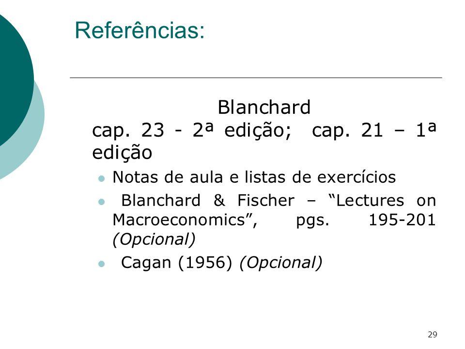 """29 Referências: Blanchard cap. 23 - 2ª edição; cap. 21 – 1ª edição Notas de aula e listas de exercícios Blanchard & Fischer – """"Lectures on Macroeconom"""