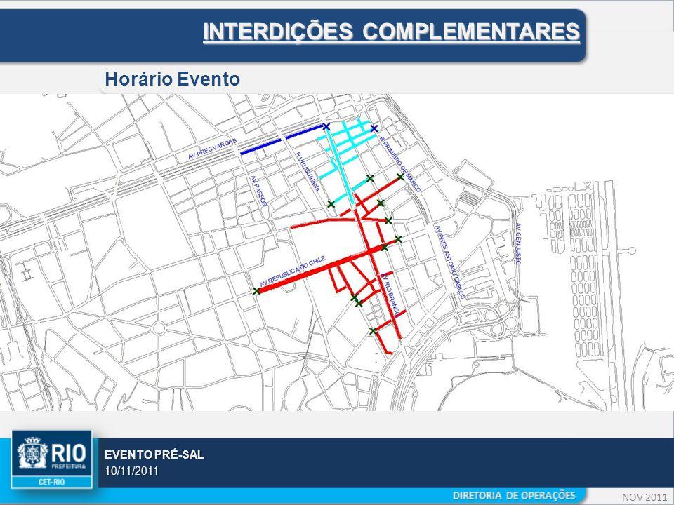 NOV 2011 EVENTO PRÉ-SAL 10/11/2011 INTERDIÇÕES COMPLEMENTARES Horário Evento