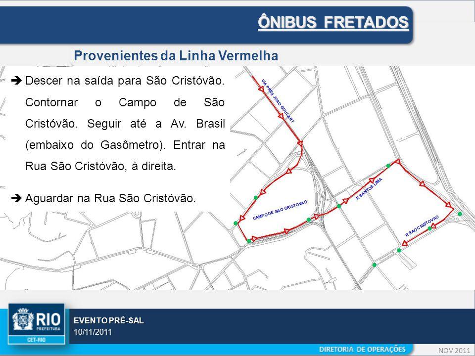 NOV 2011 EVENTO PRÉ-SAL 10/11/2011 ÔNIBUS FRETADOS Provenientes da Linha Vermelha  Descer na saída para São Cristóvão.