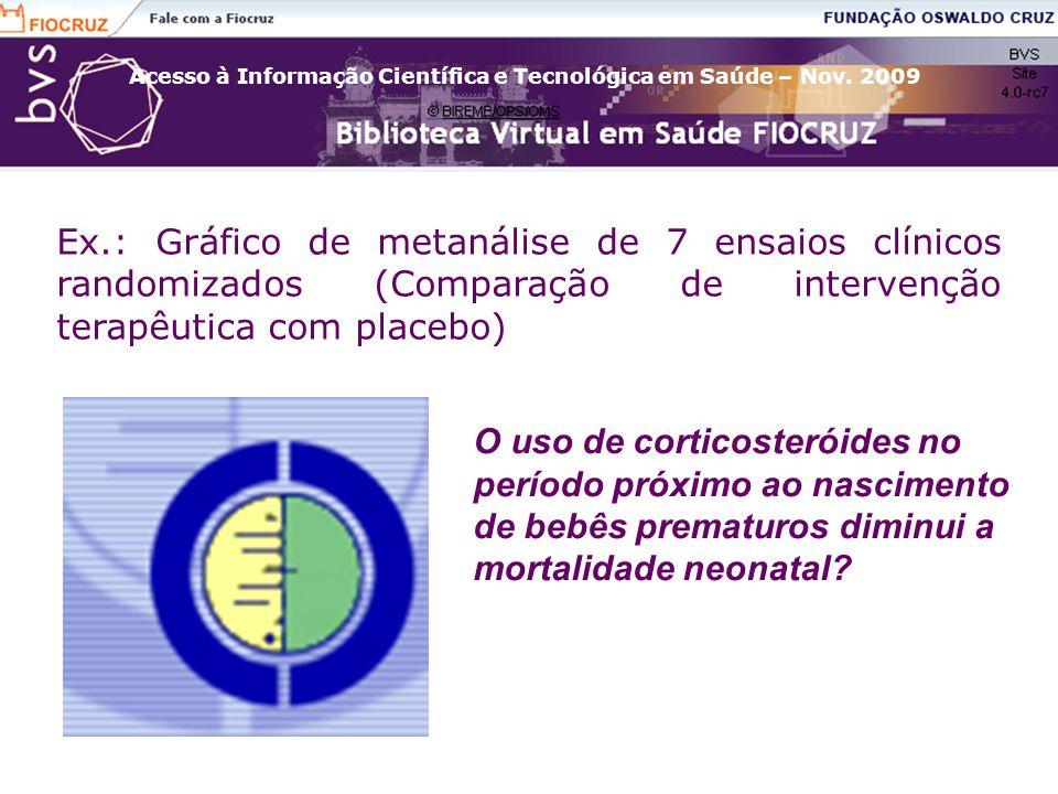 Acesso à Informação Científica e Tecnológica em Saúde – Nov. 2009 Ex.: Gráfico de metanálise de 7 ensaios clínicos randomizados (Comparação de interve