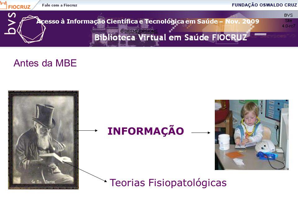Acesso à Informação Científica e Tecnológica em Saúde – Nov. 2009 Antes da MBE INFORMAÇÃO Teorias Fisiopatológicas