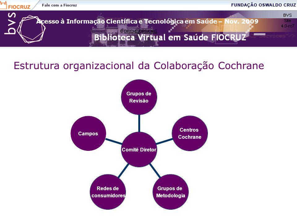 Acesso à Informação Científica e Tecnológica em Saúde – Nov. 2009 Estrutura organizacional da Colaboração Cochrane Comitê Diretor Grupos de Revisão Ce