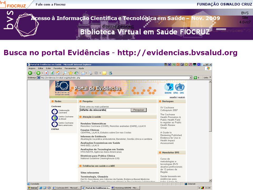 Busca no portal Evidências - http://evidencias.bvsalud.org
