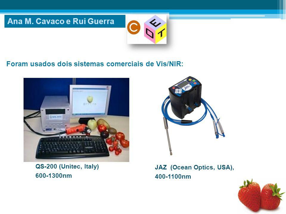 Foram usados dois sistemas comerciais de Vis/NIR: Ana M. Cavaco e Rui Guerra QS-200 (Unitec, Italy) 600-1300nm JAZ (Ocean Optics, USA), 400-1100nm