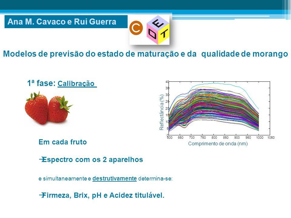 Modelos de previsão do estado de maturação e da qualidade de morango Em cada fruto  Espectro com os 2 aparelhos e simultaneamente e destrutivamente d