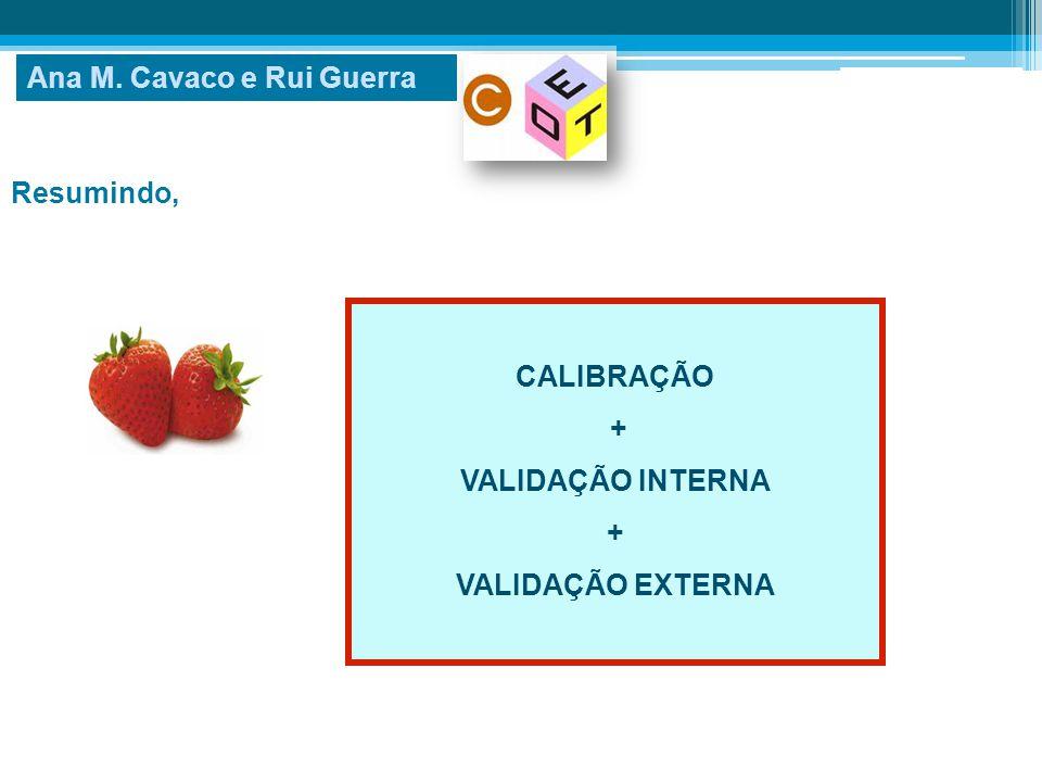 Resumindo, Ana M. Cavaco e Rui Guerra CALIBRAÇÃO + VALIDAÇÃO INTERNA + VALIDAÇÃO EXTERNA