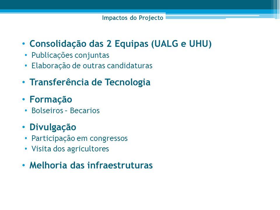 Consolidação das 2 Equipas (UALG e UHU) Publicações conjuntas Elaboração de outras candidaturas Transferência de Tecnologia Formação Bolseiros – Becar