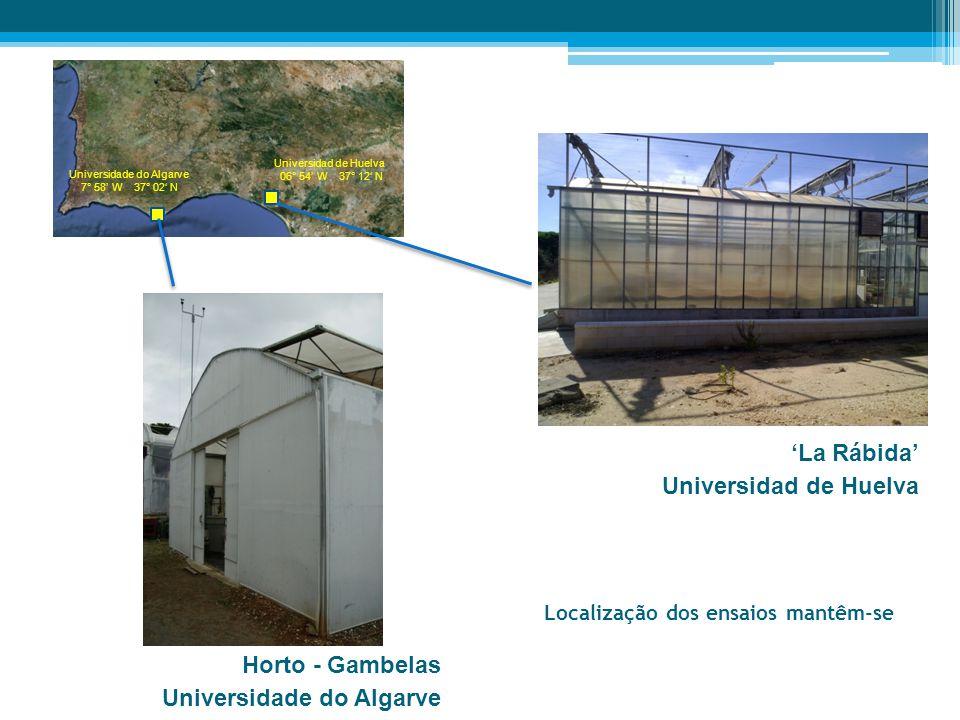 Localização dos ensaios mantêm-se Universidade do Algarve 7° 58' W 37° 02' N Universidad de Huelva 06° 54' W 37° 12' N 'La Rábida' Universidad de Huel