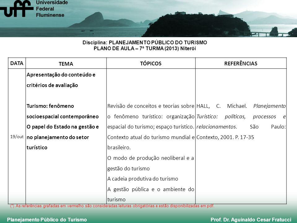 Planejamento Público do Turismo Prof. Dr. Aguinaldo Cesar Fratucci Disciplina: PLANEJAMENTO PÚBLICO DO TURISMO PLANO DE AULA – 7ª TURMA (2013) Niterói