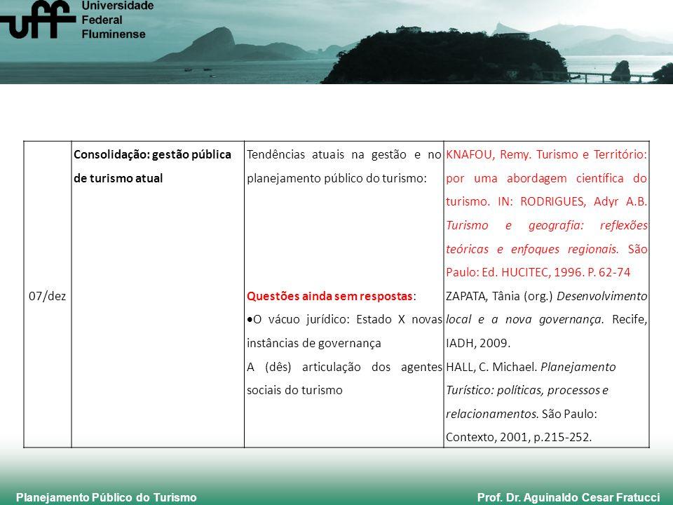 Planejamento Público do Turismo Prof. Dr. Aguinaldo Cesar Fratucci 07/dez Consolidação: gestão pública de turismo atual Tendências atuais na gestão e
