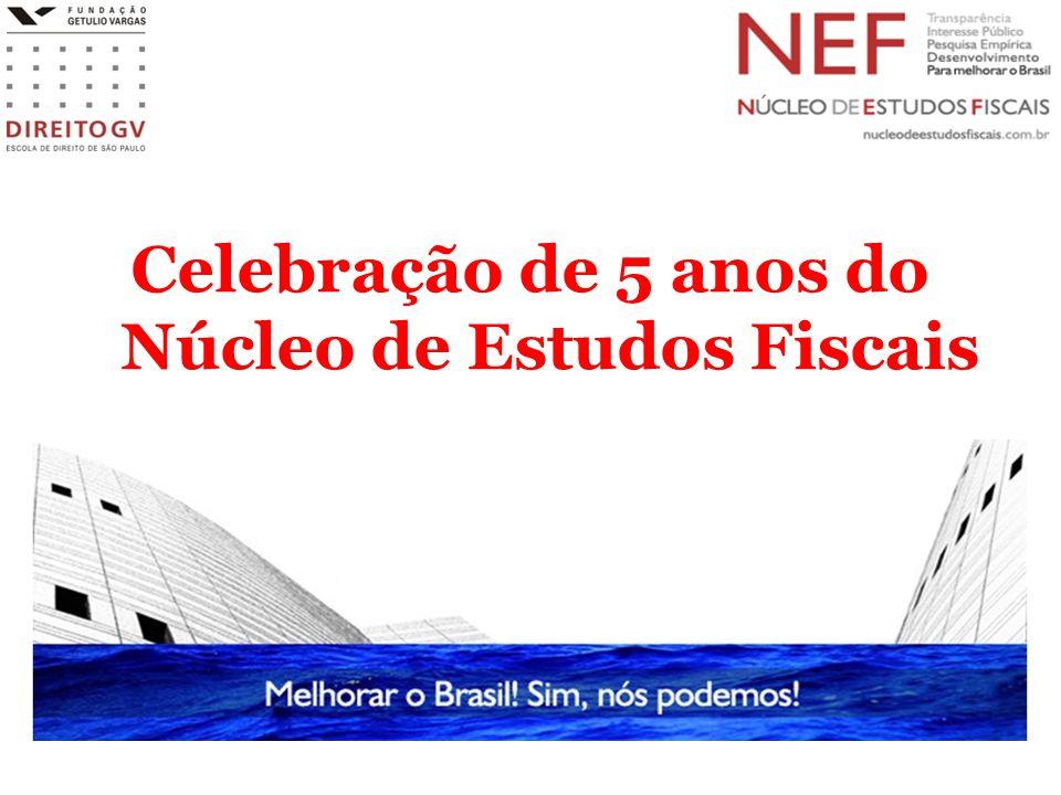 Núcleo de Estudos Fiscais (NEF/Direito GV) Surge em 13 de maio de 2009 com o objetivo de Investigar a relação entre Tributação e Desenvolvimento Privilegiar investigações empíricas Criar oportunidade para realizar debates públicos sobre os desafios da tributação no Brasil Compartilhar experiências internacionais