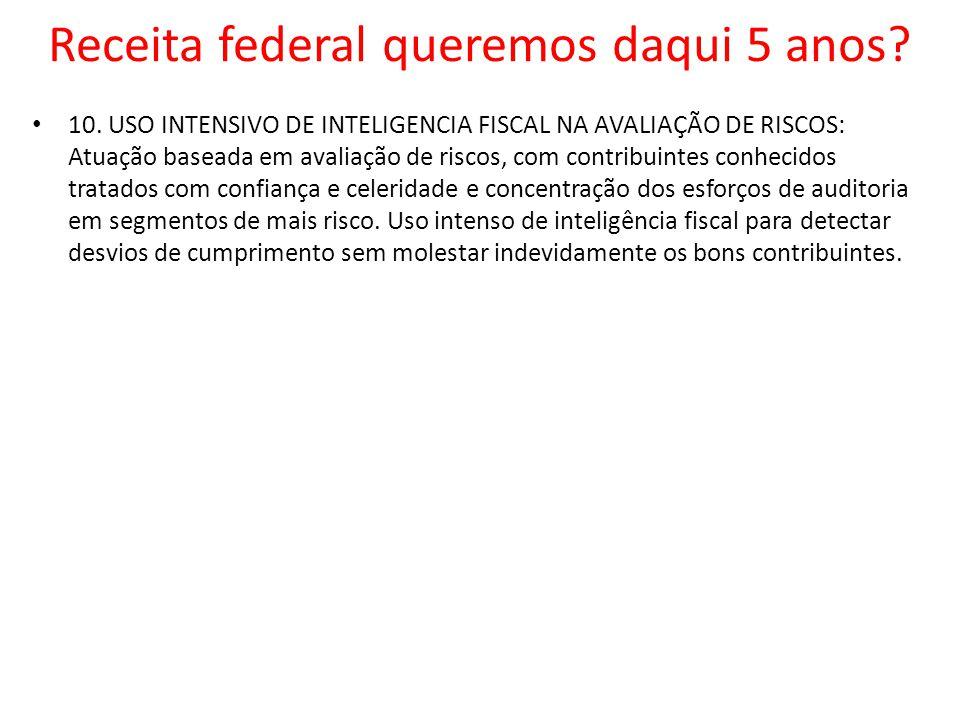 10. USO INTENSIVO DE INTELIGENCIA FISCAL NA AVALIAÇÃO DE RISCOS: Atuação baseada em avaliação de riscos, com contribuintes conhecidos tratados com con
