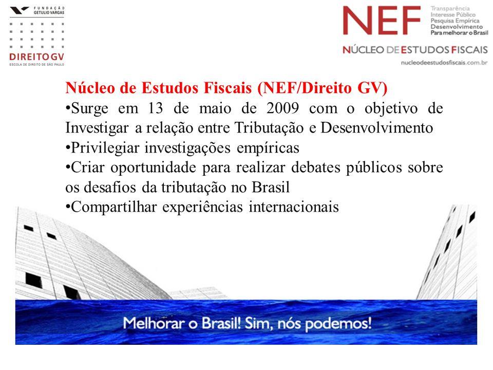 Núcleo de Estudos Fiscais (NEF/Direito GV) Surge em 13 de maio de 2009 com o objetivo de Investigar a relação entre Tributação e Desenvolvimento Privi