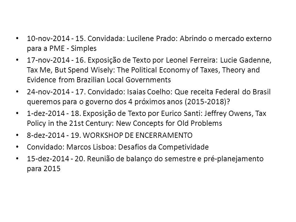 10-nov-2014 - 15. Convidada: Lucilene Prado: Abrindo o mercado externo para a PME - Simples 17-nov-2014 - 16. Exposição de Texto por Leonel Ferreira: