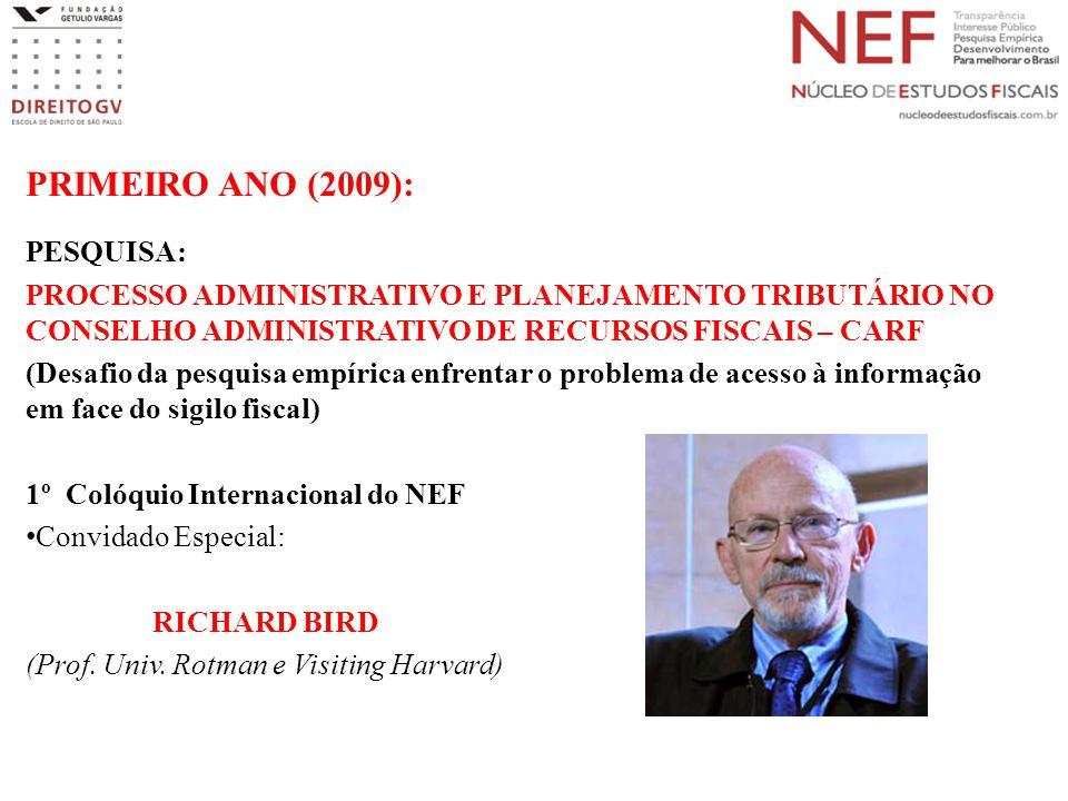 PRIMEIRO ANO (2009): PESQUISA: PROCESSO ADMINISTRATIVO E PLANEJAMENTO TRIBUTÁRIO NO CONSELHO ADMINISTRATIVO DE RECURSOS FISCAIS – CARF (Desafio da pes