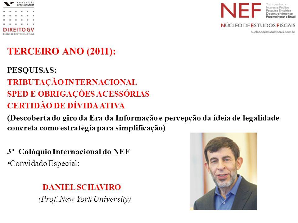 TERCEIRO ANO (2011): PESQUISAS: TRIBUTAÇÃO INTERNACIONAL SPED E OBRIGAÇÕES ACESSÓRIAS CERTIDÃO DE DÍVIDA ATIVA (Descoberta do giro da Era da Informação e percepção da ideia de legalidade concreta como estratégia para simplificação) 3º Colóquio Internacional do NEF Convidado Especial: DANIEL SCHAVIRO (Prof.