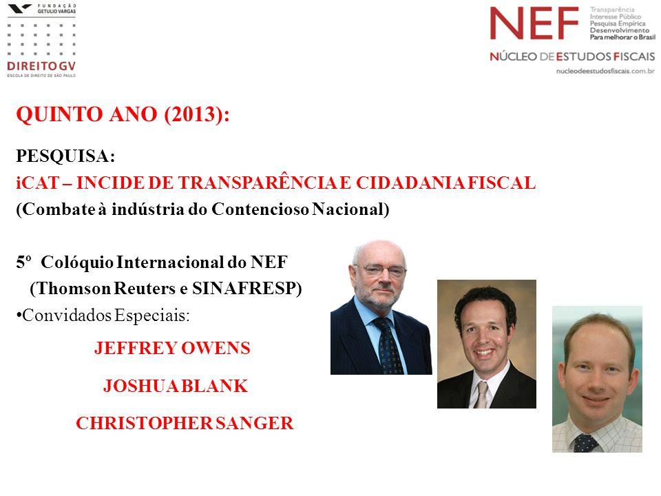 QUINTO ANO (2013): PESQUISA: iCAT – INCIDE DE TRANSPARÊNCIA E CIDADANIA FISCAL (Combate à indústria do Contencioso Nacional) 5º Colóquio Internacional