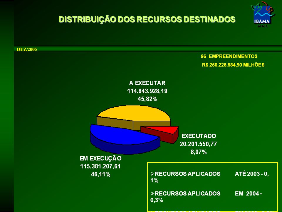 DISTRIBUIÇÃO DOS RECURSOS DESTINADOS DEZ/2005 96 EMPREENDIMENTOS R$ 250.226.684,90 MILHÕES  RECURSOS APLICADOSATÉ 2003 - 0, 1%  RECURSOS APLICADOSEM 2004 - 0,3%  RECURSOS APLICADOSEM 2005 - 8,3%