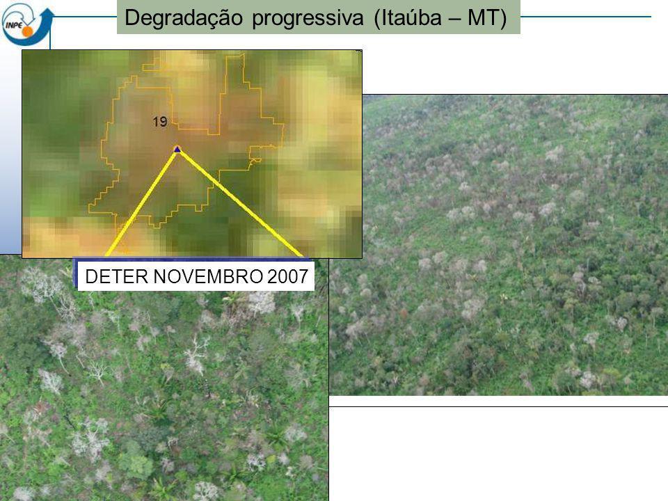 Alerta DETER Novembro de 2007 Degradação progressiva (Itaúba – MT) DETER NOVEMBRO 2007