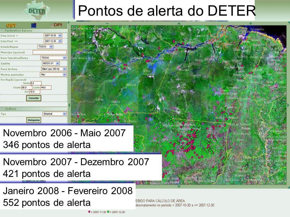 Novembro 2007 - Dezembro 2007 421 pontos de alerta Novembro 2006 - Maio 2007 346 pontos de alerta Janeiro 2008 - Fevereiro 2008 552 pontos de alerta P