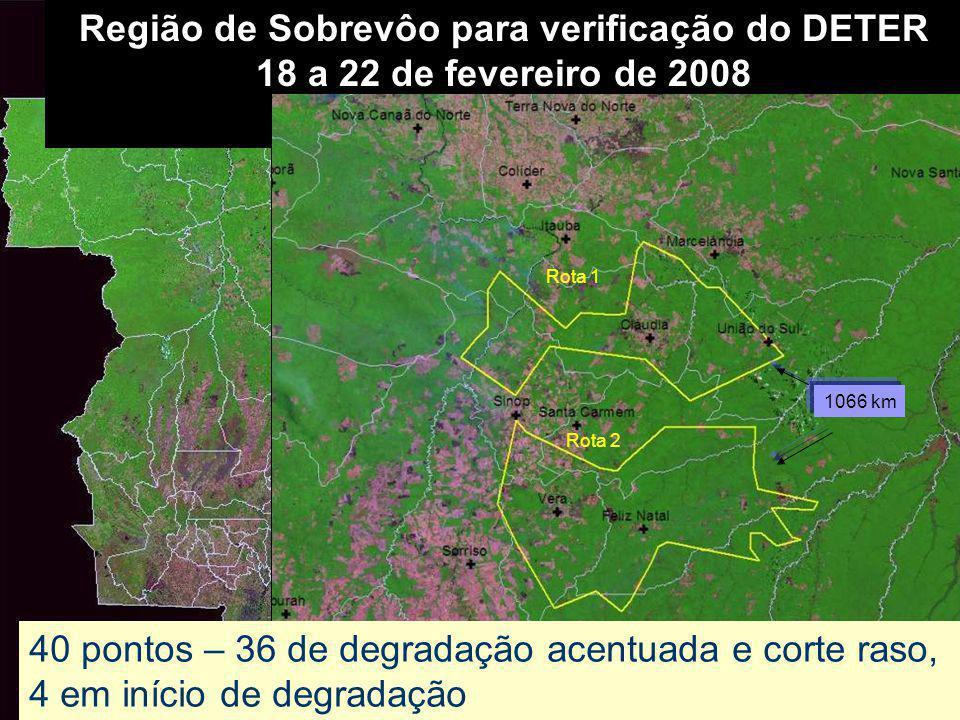 Região de Sobrevôo para verificação do DETER 18 a 22 de fevereiro de 2008 Rota 1 Rota 2 40 pontos – 36 de degradação acentuada e corte raso, 4 em iníc